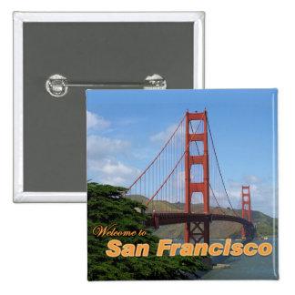 Recepción a San Francisco - puente Golden Gate Pin Cuadrado
