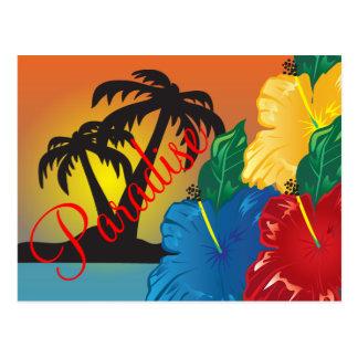Recepción a un paraíso tropical hermoso postal