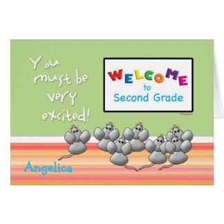 Recepción al 2do grado de ratones lindos del tarjeta de felicitación