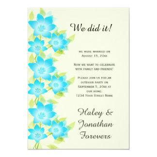 Recepción al aire libre floral del verde azul del invitación 12,7 x 17,8 cm
