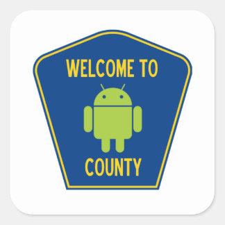Recepción al condado androide (muestra de Droid Pegatina Cuadrada