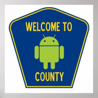 Recepción al condado androide (muestra de Droid Póster