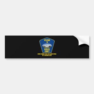 Recepción al condado del embotellamiento (humor de etiqueta de parachoque