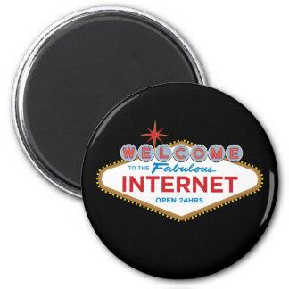 Recepción al Internet fabuloso - 24hrs abierto Imán Redondo 5 Cm