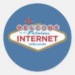 Recepción al Internet fabuloso - 24hrs abierto Etiquetas Redondas