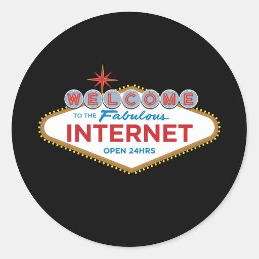 Recepción al Internet fabuloso - 24hrs abierto Pegatina Redonda