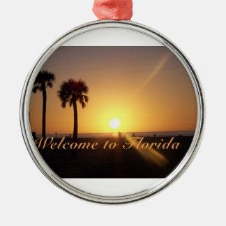 Recepción al ornamento de la Florida Adorno Navideño Redondo De Metal