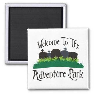 Recepción al parque de la aventura imán cuadrado