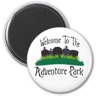 Recepción al parque de la aventura imán redondo 5 cm