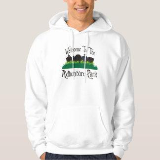 Recepción al parque de la aventura pulóver con capucha