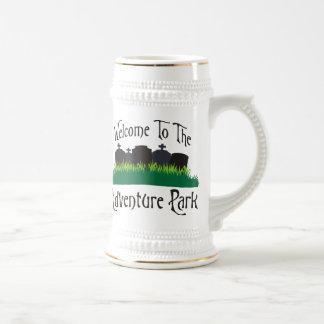 Recepción al parque de la aventura jarra de cerveza