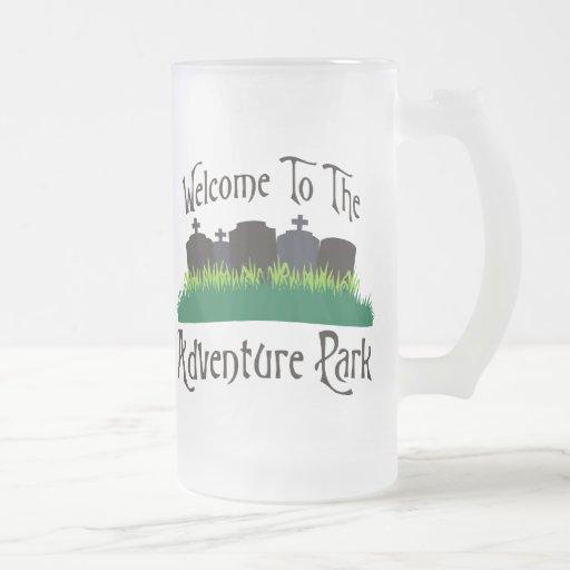 Recepción al parque de la aventura taza cristal mate