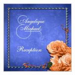 Recepción anaranjada azul del vintage del boda invitación 13,3 cm x 13,3cm
