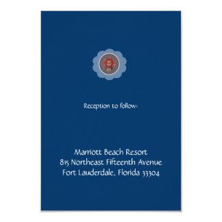 """Recepción azul de Vaftisi Invitación 3.5"""" X 5"""""""