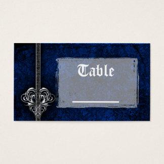 Recepción azul del corazón de la plata del damasco tarjeta de negocios