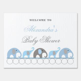 Recepción azul y gris de la fiesta de bienvenida a letrero