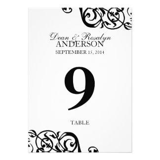 Recepción B W del fiesta de la tarjeta del número