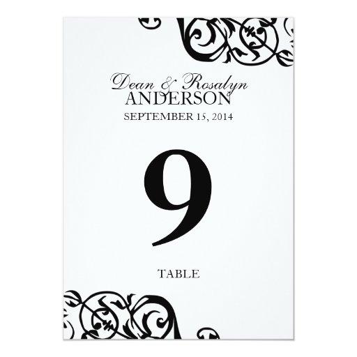 """Recepción B&W del fiesta de la tarjeta del número Invitación 5"""" X 7"""""""