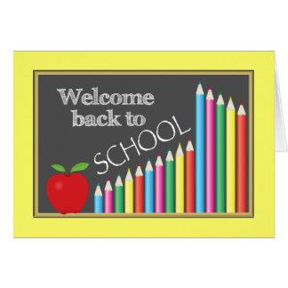 Recepción colorida de nuevo a escuela felicitacion