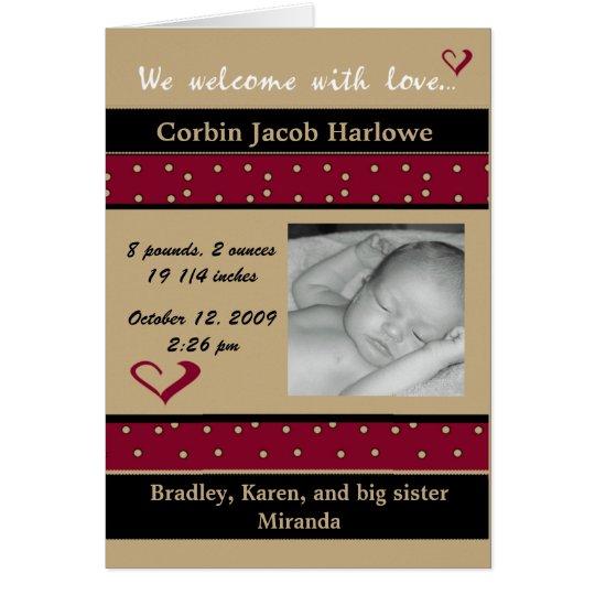 Recepción con la invitación del nacimiento del beb tarjeta de felicitación