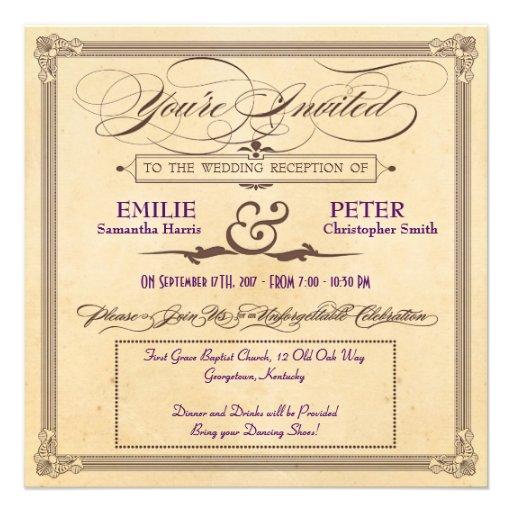 Recepción de la crema y de Brown del poster del vi Invitaciones Personalizada