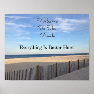 Recepción de la playa póster