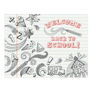 Recepción de los Doodles de la escuela de nuevo a Postales