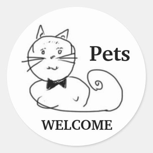 Recepción de los mascotas pegatina redonda