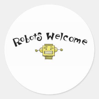 recepción de los robots etiqueta redonda