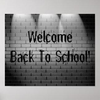 ¡Recepción de nuevo a escuela! Muestra de la impre Póster