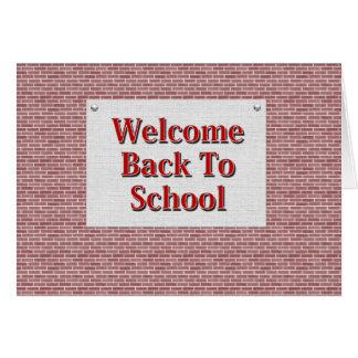 Recepción de nuevo a escuela tarjeton