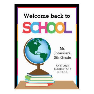 Recepción de nuevo a la escuela, al globo y a los tarjeta postal