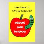 Recepción de nuevo a la escuela Apple rojo y al gu Posters