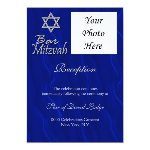 RECEPCIÓN de plata azul de la foto del mitzvah de Comunicados
