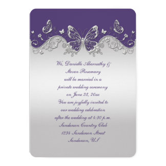 Recepción de plata púrpura polvorienta de las invitación 12,7 x 17,8 cm