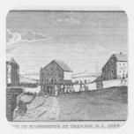 Recepción de Washington en Trenton, New Jersey Calcomanías Cuadradass