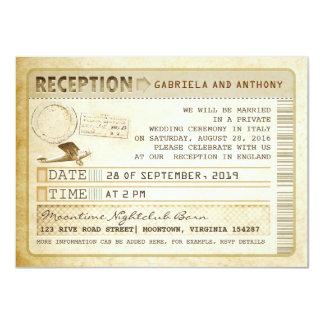 """recepción del boleto del vintage invitación 4.5"""" x 6.25"""""""