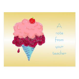 Recepción del estudiante del helado de la postal