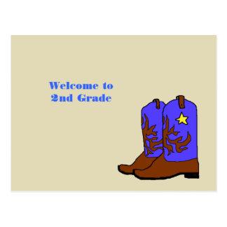 Recepción del profesor de las botas de vaquero par tarjeta postal