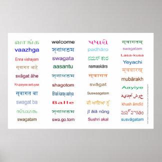 ¡RECEPCIÓN en las idiomas principales de la INDIA Impresiones