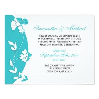 """Recepción floral abstracta de la turquesa invitación 4.25"""" x 5.5"""""""
