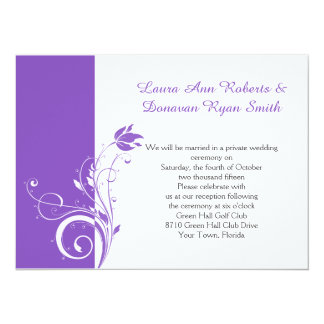 """Recepción floral púrpura y blanca de los remolinos invitación 5.5"""" x 7.5"""""""