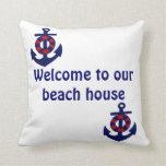 Recepción náutica del tema a nuestra casa de playa almohadas