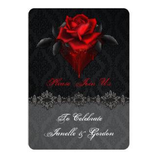"""Recepción negra del damasco de los rosas rojos invitación 5"""" x 7"""""""