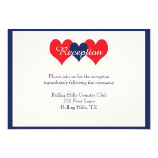 """Recepción nupcial americana de los corazones invitación 3.5"""" x 5"""""""