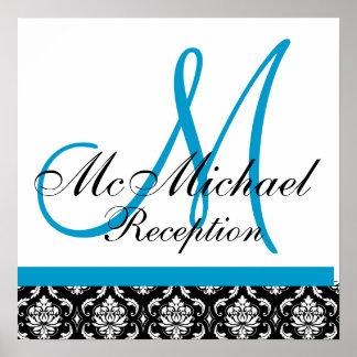Recepción nupcial azul del monograma del damasco póster