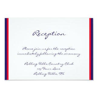 """Recepción nupcial blanca y azul roja invitación 3.5"""" x 5"""""""