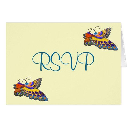Recepción nupcial colorida RSVP de la mariposa Tarjeta Pequeña
