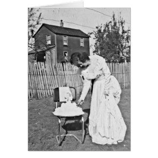 recepción nupcial de la mamá y del papá tarjeta de felicitación