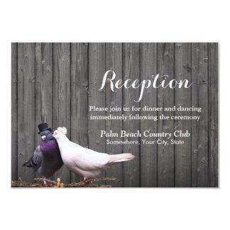 """Recepción nupcial de madera de los pájaros del invitación 3.5"""" x 5"""""""